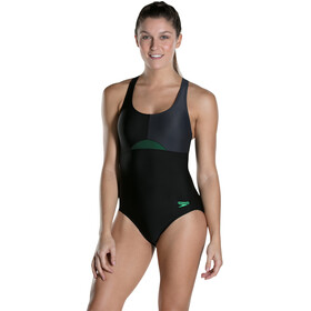 speedo HydrActive Swimsuit Women Black/Oxid Grey/Fake Green